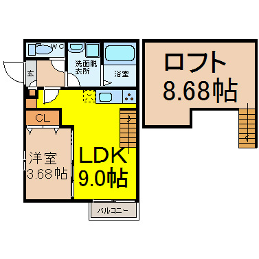 LDK9帖 洋室3.68帖 ロフト8.68帖 家電ご用意できます