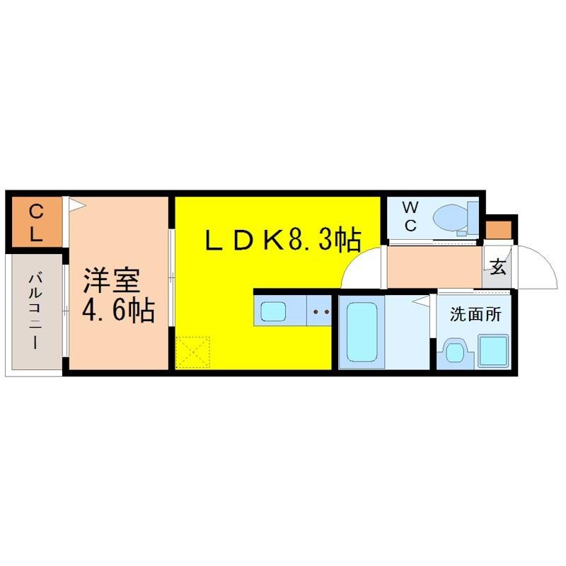 LDK8.3帖 洋室4.6帖