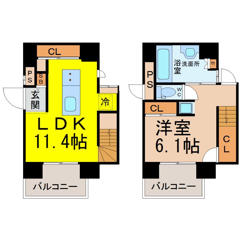 1LDK LDK11.4帖 洋室6.1帖