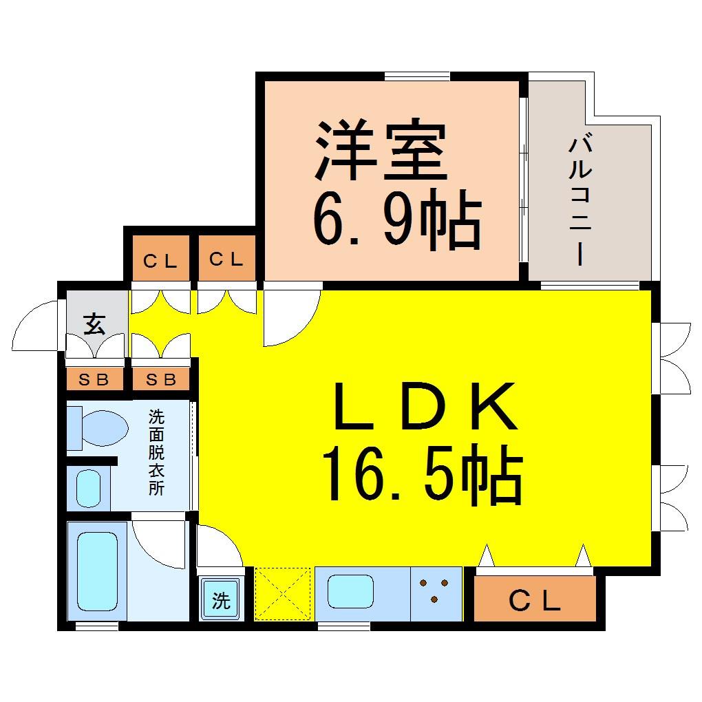 LDK16.5帖 洋室6.9帖