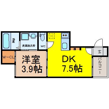 DK7.5帖 洋室3.9帖 家電ご用意できます。